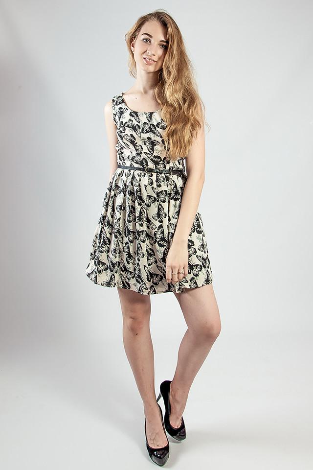 Женское платье летнее мини с поясом