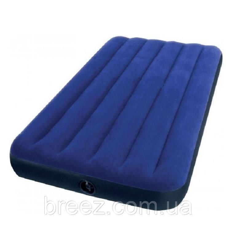 Надувной велюровый матрас Intex 68757 одноместный синий191 х 99 х 22 см