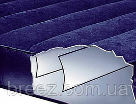 Надувной велюровый матрас Intex 68757 одноместный синий191 х 99 х 22 см, фото 3