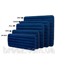 Надувной велюровый матрас Intex 68757 одноместный синий191 х 99 х 22 см, фото 2