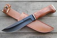 Нож нескладной Горец, с мощным клинком, деревянной рукояткой и кожаным чехлом в комплекте