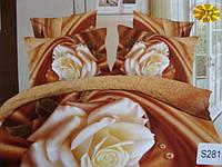 Сатиновое постельное белье евро 3D ELWAY S281