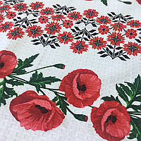Готовое вафельное полотенце с веточкой с маками и украинским орнаментом 45х70 см, фото 1