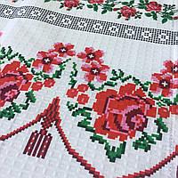 Готовое вафельное полотенце с розами и украинским орнаментом 45х70 см, фото 1