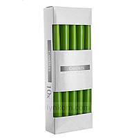 Свечи столовые конические зеленые (10шт)