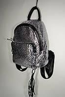 Кожаный рюкзак V-17-16 серебро