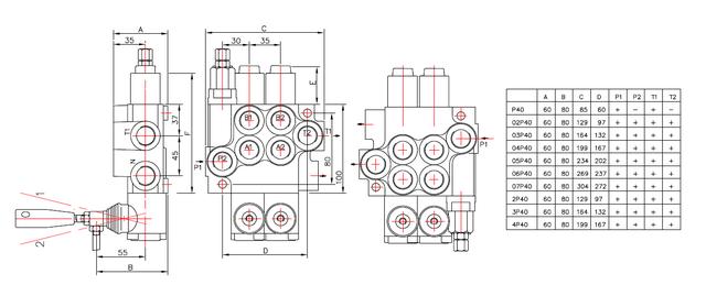 схема гидрораспределителя Р40