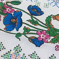 Готовое вафельное полотенце с голубыми маками и вышивкой крестиком 45х70 см