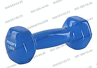 Гантель MS 0665, металл с виниловым покрытием, шестигранная, 1,5 кг, 3 цвета, для физических тренировок