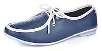 Мокасины женские кожаные синие на шнуровке Riverland Турция, Синий, 38 , фото 1