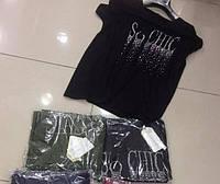Женские футболки с надписью из камешков Черная и темно зеленая Размер батал