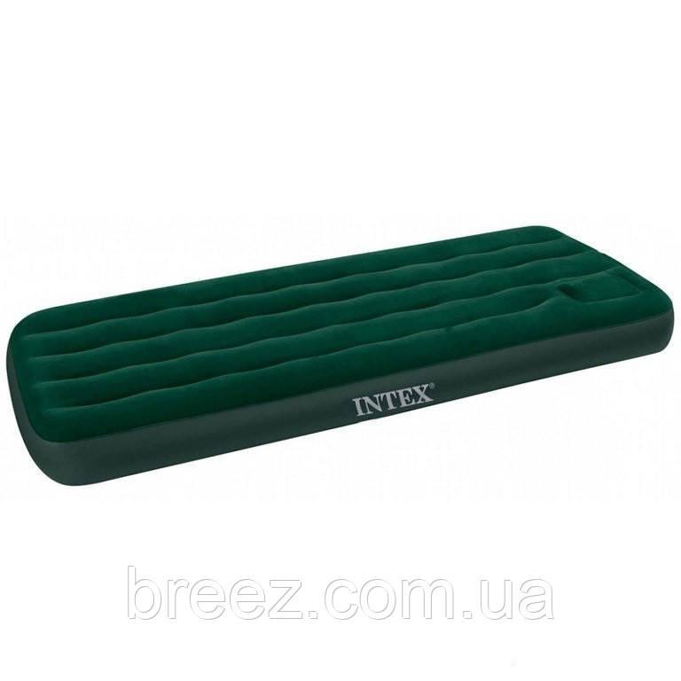 Надувной матрас одноместный Intex 66950 зеленый, со встроенным ножным насосом 191 х 76 х 22 см