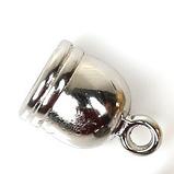 Концевик-колпачок  для бисерных жгутов, 10 мм, цвет серебро, 1 пара, фото 3