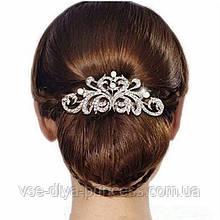 """Гребінь """"Ніжність"""" з перлами під срібло у зачіску"""