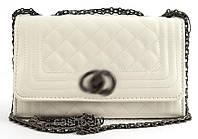 Стильный небольшая элитная матовая женская каркасная сумочка клатч с рукой с цепи Suliya art. 238 белая