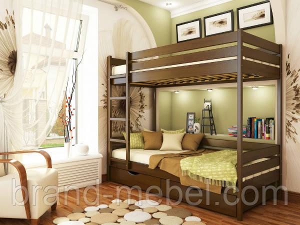Дерев'яне ліжко дитяче двоярусне Дует / Деревянная кровать детская двоярусная Дуэт