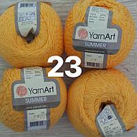 Турецкая летняя пряжа для вязания YarnArt  Summer (саммер)  хлопок с вискозой   23 желтый