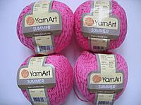 Турецкая летняя пряжа для вязания YarnArt  Summer (саммер)  хлопок с вискозой   45 малина яркая