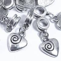 Бусины Пандора с Кулоном, Шармы Сердце, Металл, Цвет: Античное серебро, Размер: 26х11мм, Отв. 5мм, (УТ0028935)