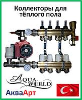 Коллектор для теплого пола AquaWorld в сборе с насосом на восемь контуров