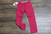 Котоновые брюки для девочек 2- 4, 8 лет Цвет малиновый