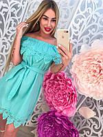 Модное летнее платье с оборкой открытые плечи с кружевом тренд 2017