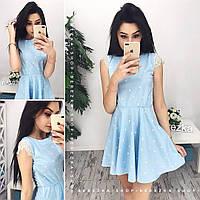 Нежное голубое платье из хлопка