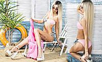 Стильный женский раздельный купальник Перекрут \ Серый/Розовый
