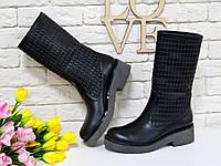 Сапоги кожаные черного цвета на серой подошве свободного одевания
