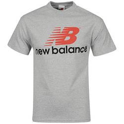 Мужская футболка New Balance, мужская футболка Нью Баланс, спортивная, брендовая, серая, копия