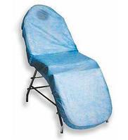 Чехол на кушетку водонепр. на резинке 0,8*2,1м(1шт в уп.)голубой люкс Polix PRO&MED