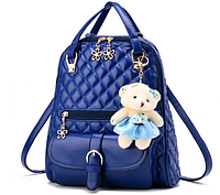 Рюкзак женский стёганый с брелком мишкой синий