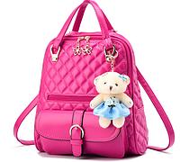 Женский рюкзак с брелком мишкой розовый