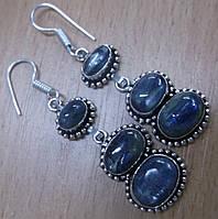 """Серебряные серьги с натуральным кианитом """"Море""""от студии  LadyStyle.Biz, фото 1"""