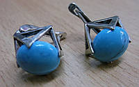"""Серьги с бирюзой """"Куб""""от Студии LadyStyle.Biz, фото 1"""