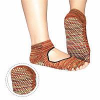 Носки для йоги меланж черно-красно-желтый