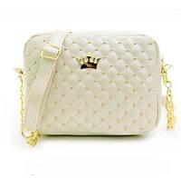 Модная женская стёганная маленькая белая сумка корона