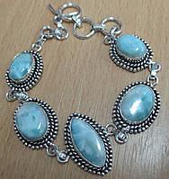 """Симпатичный серебряный браслет """"Коломбина"""" с натуральными  ларимарами от студии LadyStyle.Biz, фото 1"""