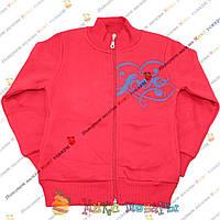 Красная кофта с начесом и рисунком с двух сторон для девочек от 5 до 9 лет (3682-3)