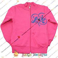 Розовая кофта с начесом и рисунком с двух сторон для девочек от 5 до 9 лет (3682-4)