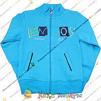 Кофта с начесом на змейке голубого цвета для девочек от 5 до 10 лет (3683-2)