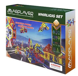 Конструктор Magplayer магнитный набор 112 эл. MPB-112, фото 2