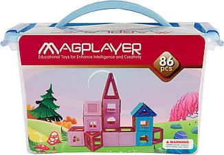 Конструктор Magplayer магнитный набор 86 эл. MPT-86, фото 2