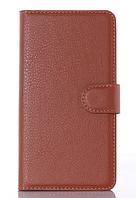 Кожаный чехол-книжка для  Lenovo P70 / P70t коричневый