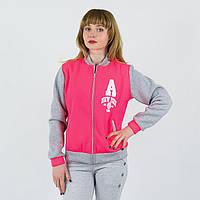 Розовая спортивная женская кофта олимпийка с принтом A