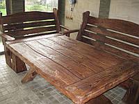 Стол и лавочки со спинками под старину.