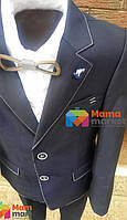 Классический школьный костюм для мальчика Lilus 217/2, цвет синий с белой отстрочкой