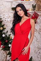 Платье с запахом красное