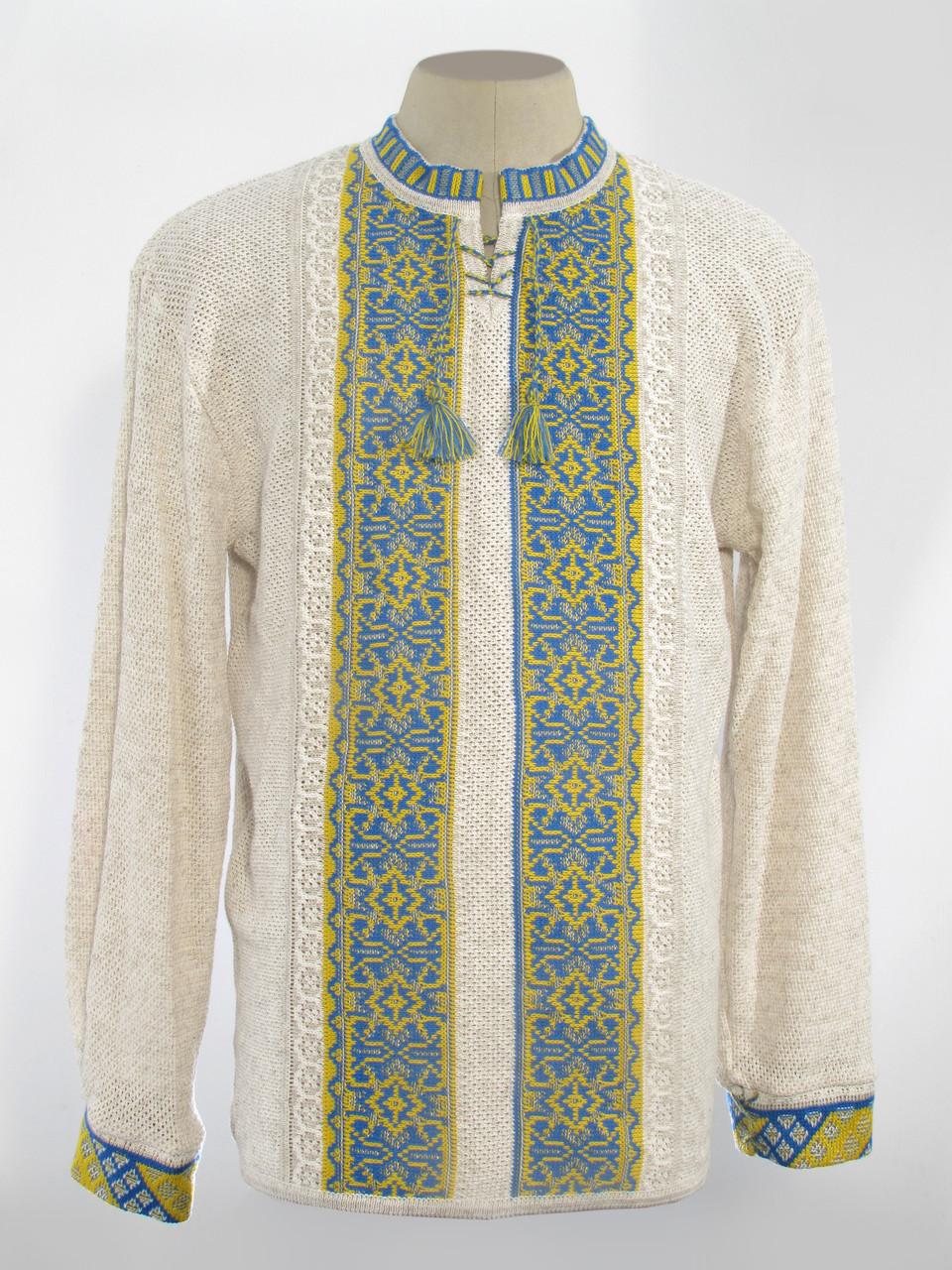 Купити вишиванку чоловічу з жовто-синім візерунком 0231 I Uzoramur 66dcf30772d38