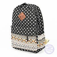 Рюкзак для девочек школьный/городской звездочки - черный - 6501, фото 1
